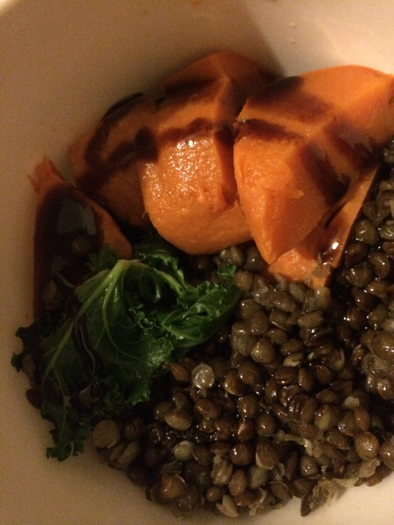 Sweet potatoes, kale and lentils